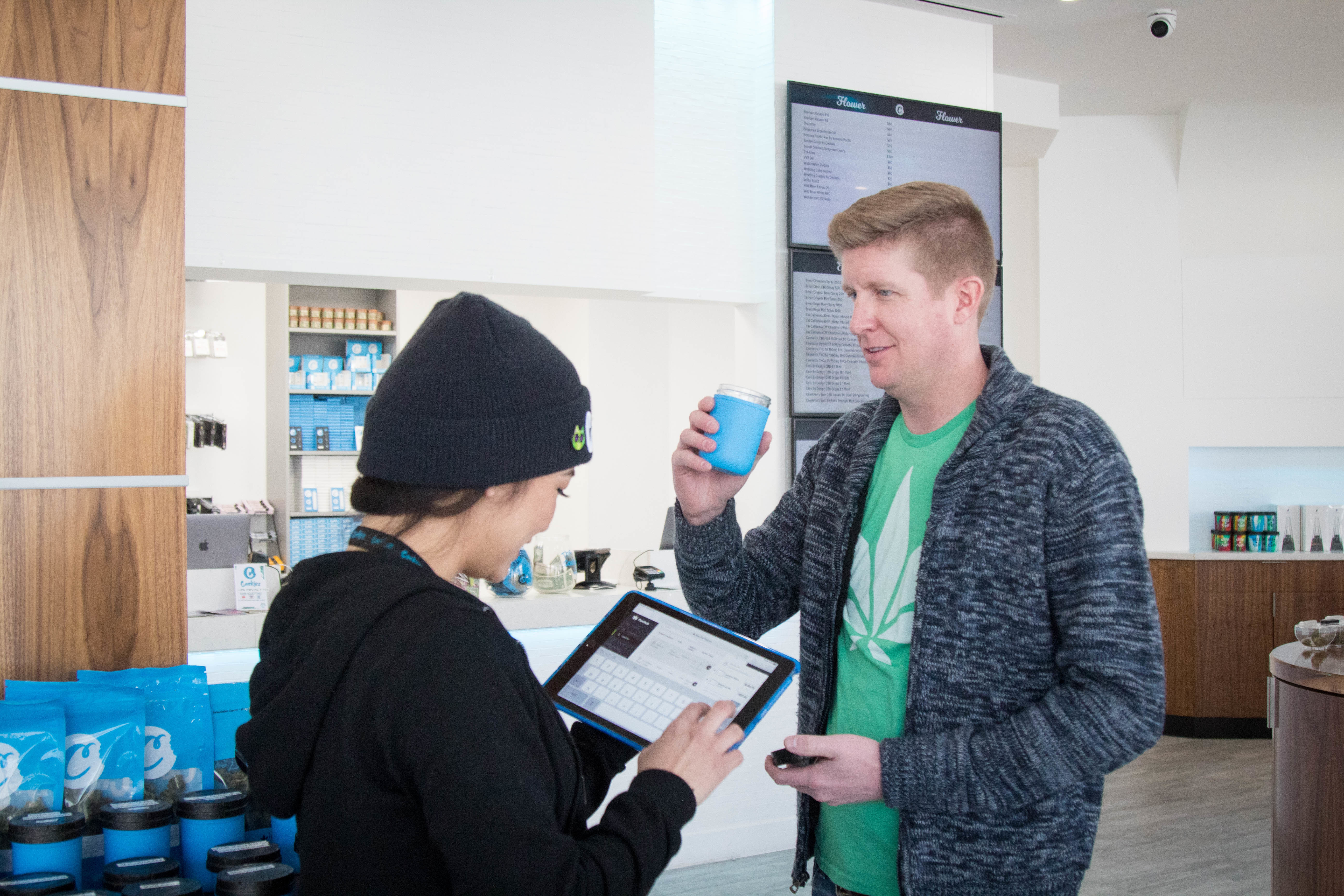 dispensary uses mobile tools to check out cannabis customers