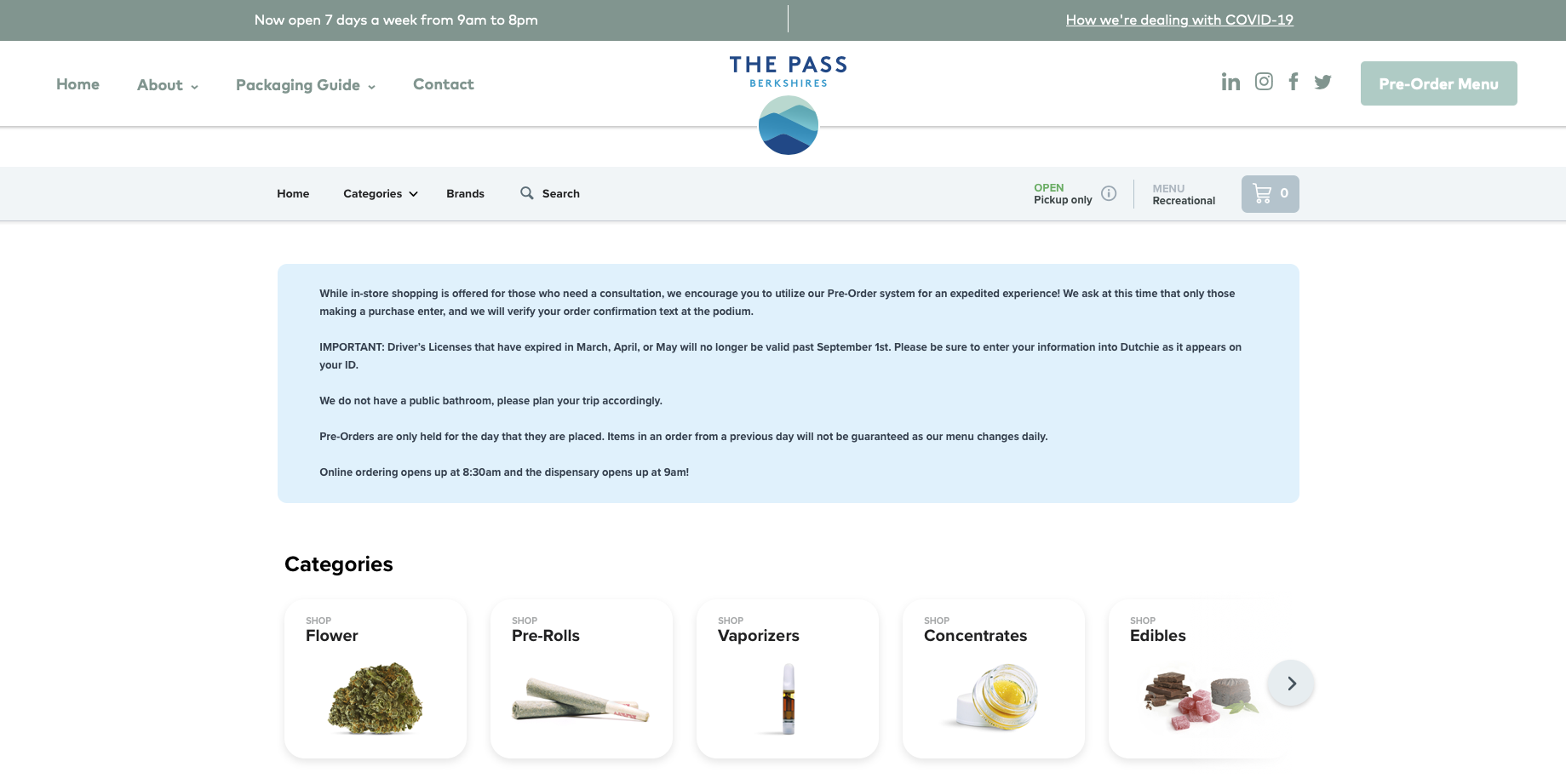 The Pass (MA) dispensary offers online ordering powered by Dutchie.
