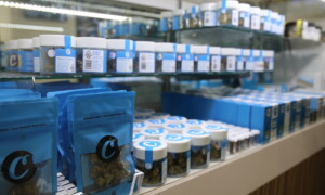 Prepacked cannabis flower at a dispensary