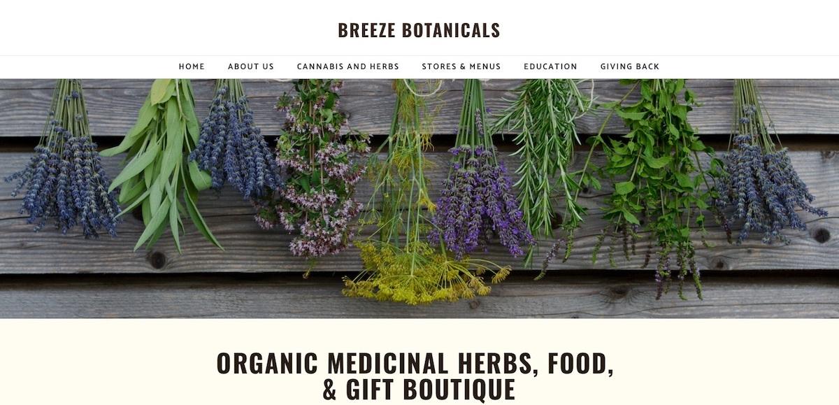 Breeze Botanicals - Oregon - best dispensary website examples
