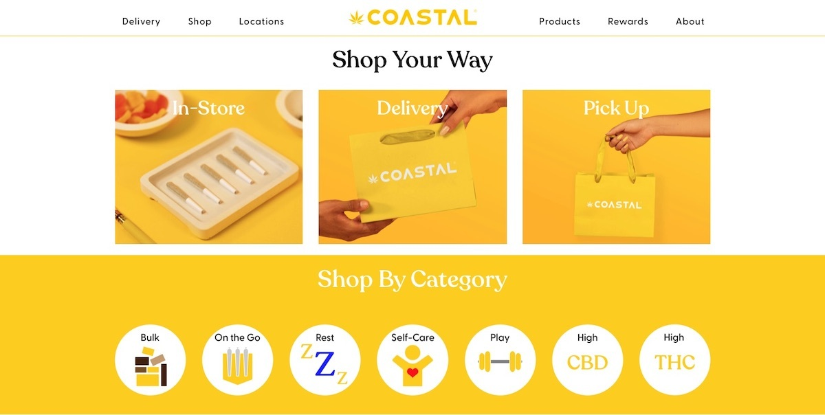 Coastal Dispensary - California - best dispensary website example