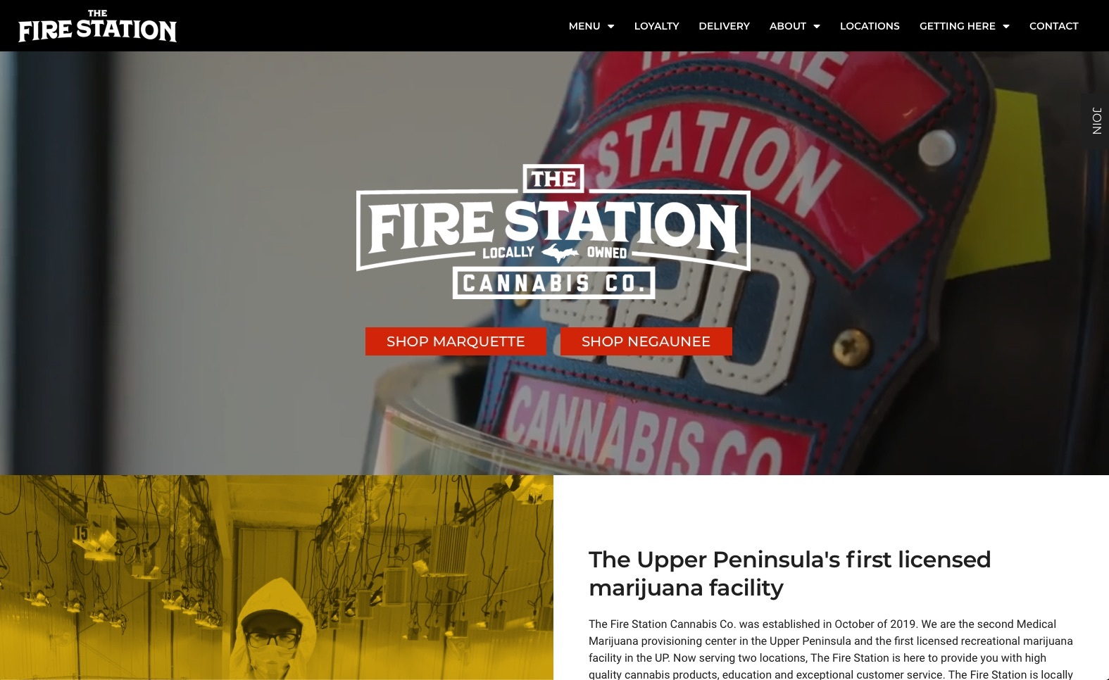 The Fire Station - Marquette, Michigan - best dispensary websites example