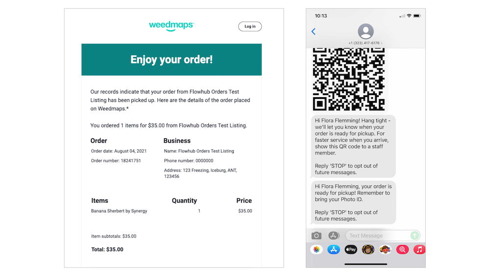 Weedmaps online order customers receive notification when the order is complete