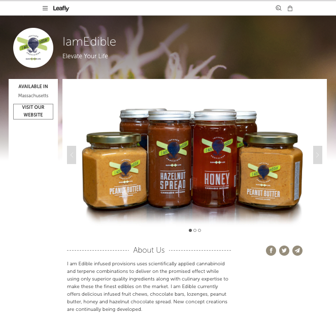 Iamedible Leafly vendor page