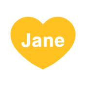 Jane Logo Big Heart WHITE