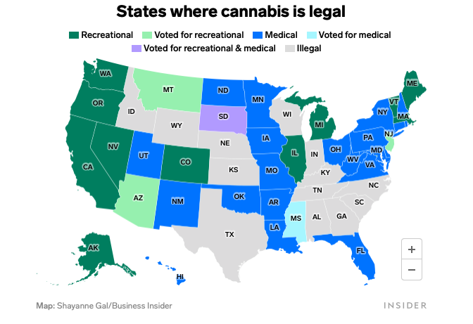 Legal cannabis map 2020