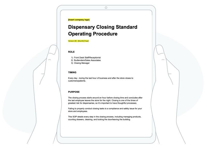 free, editable dispensary closing process template