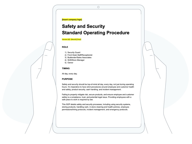 dispensary safety and security SOP template