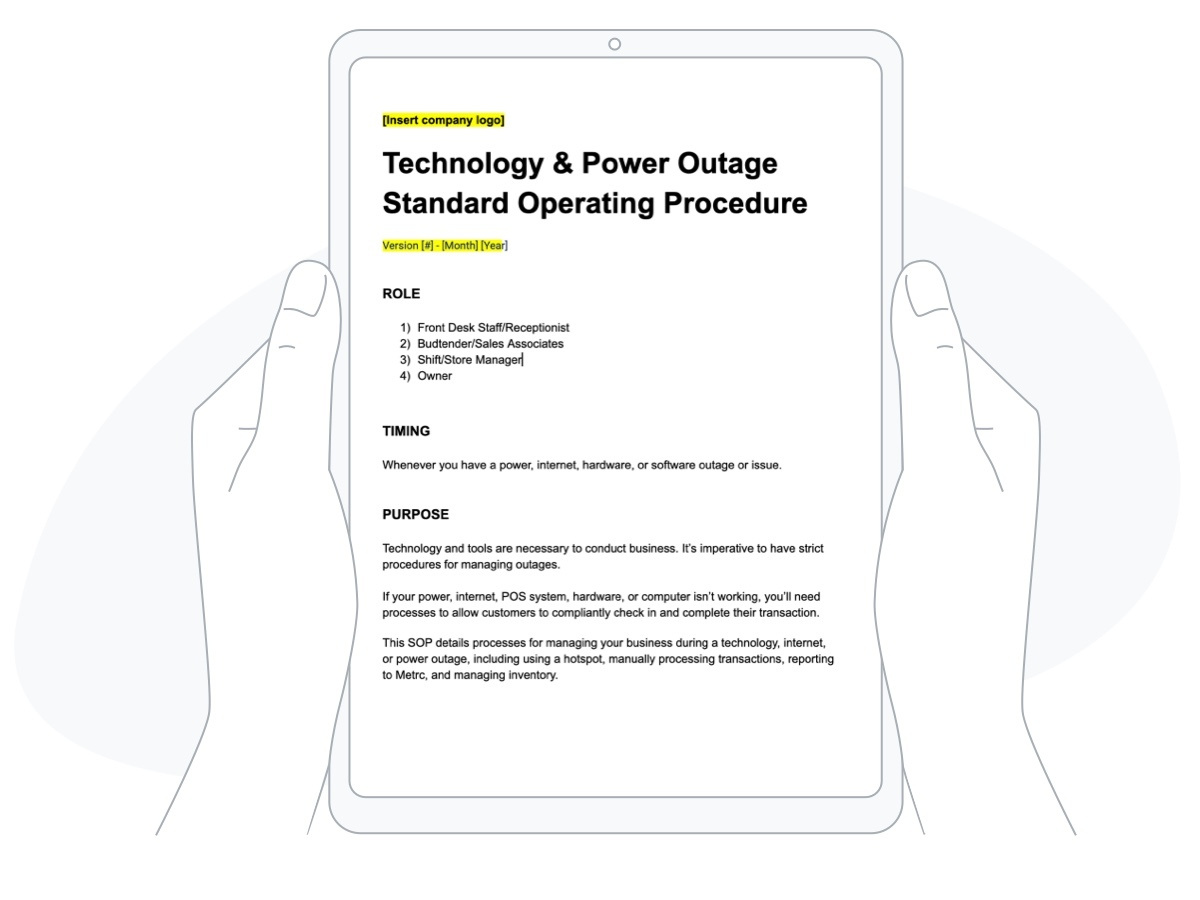 Tech and power outage standard operating procedures for dispensaries
