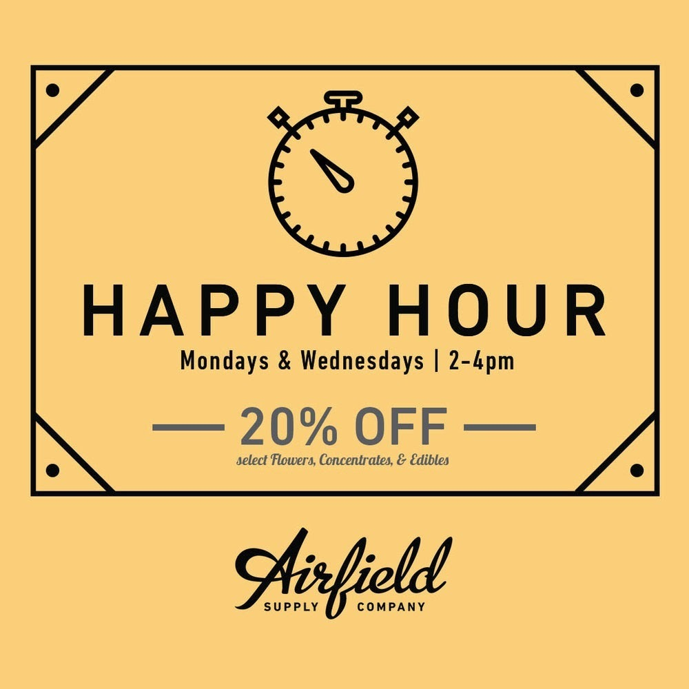 example happy hour special at a cannabis dispensary