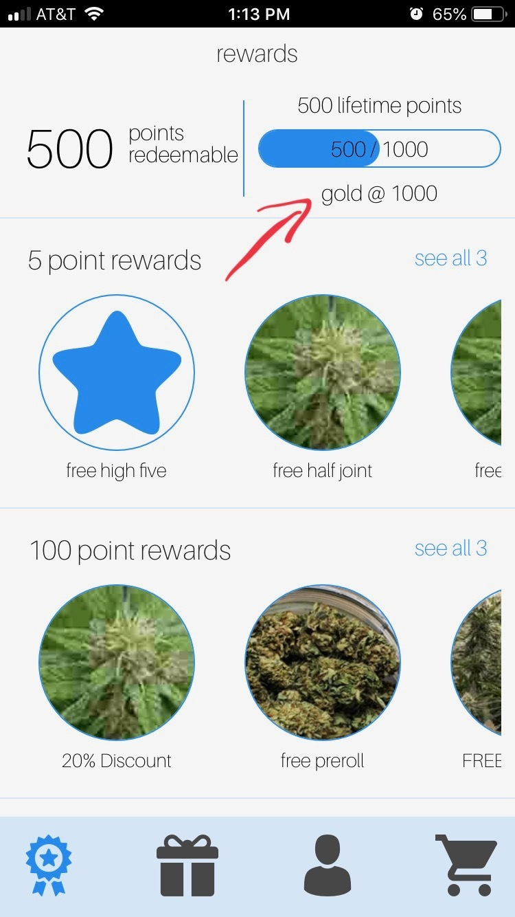 Reward point tracking for cannabis dispensary