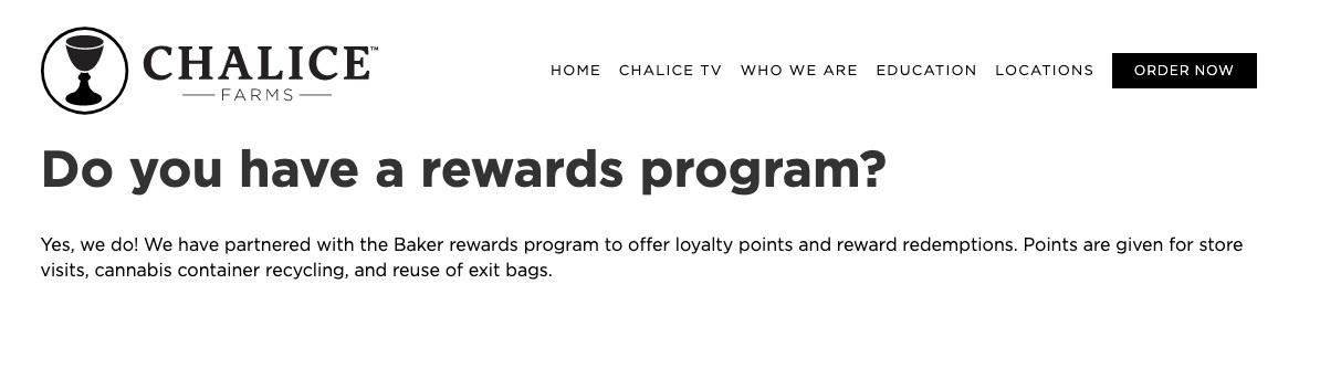 chalice farms loyalty program